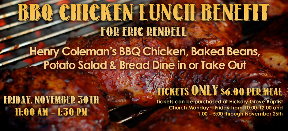 bbq chicken lunch benefit hickory grove baptist church green